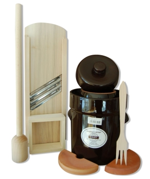 Starter-Set: Fermentation crock, cabbage pounder, cabbage slicer and fork