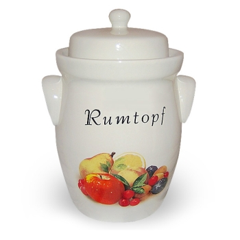 Rum pot, Decorated with fruit motif